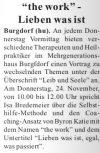 """19.11.2016 NW - """"the work"""" - Lieben was ist"""